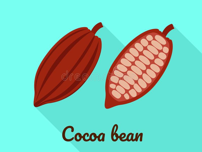 Kakaobohneikone, flache Art lizenzfreie abbildung