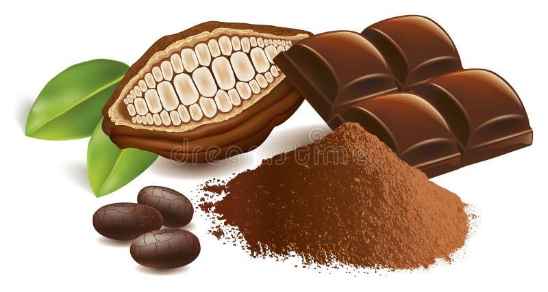 Kakaobohnen mit Schokoladentabelle und Kakaopulver vektor abbildung