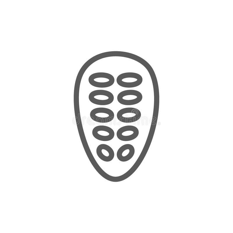 Kakaobohnen zeichnen Ikone lizenzfreie abbildung