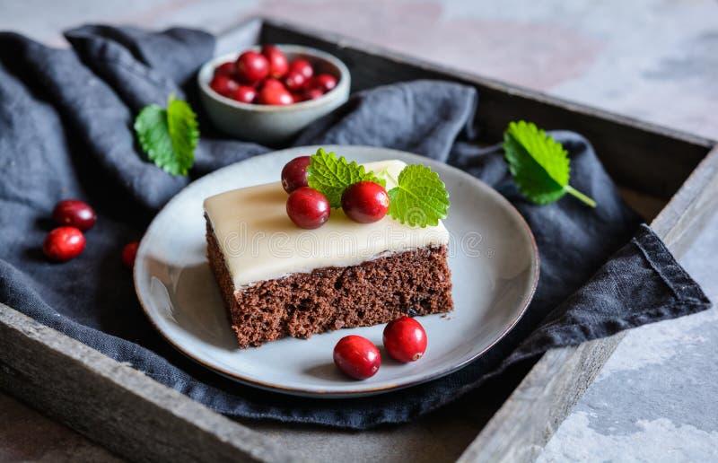 Kakaokuchen mit Moosbeeren und Marzipanglasur stockfotografie