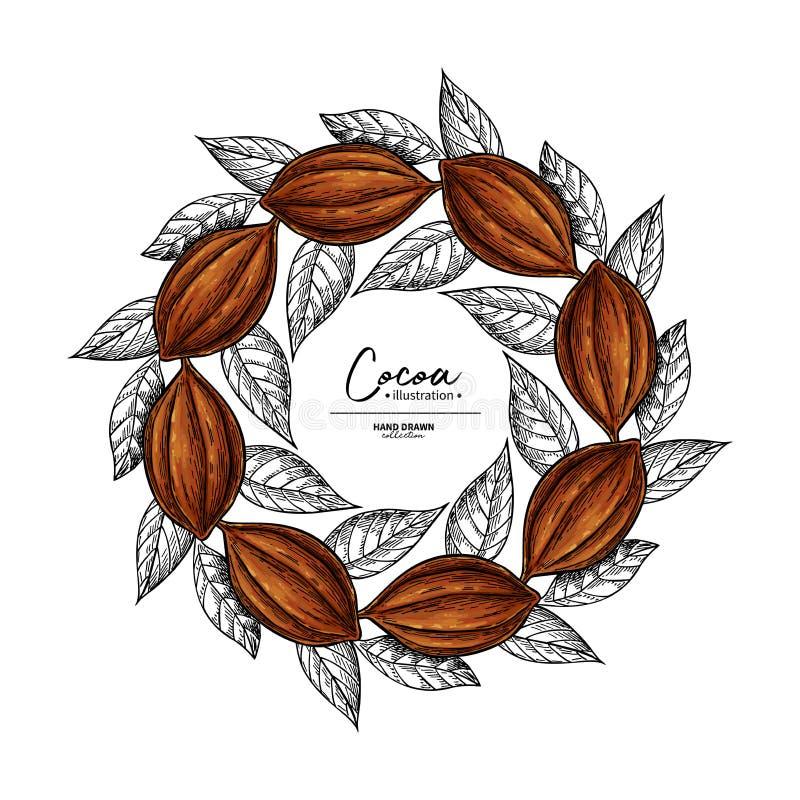 Kakaoram Mall för vektorsuperfoodteckning Frukt-, blad- och bönagravyr Organisk sund mat skissar stock illustrationer