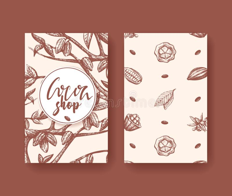 Kakaovektorillustration superfood zwei des Seitenfliegers Frucht-, Blatt- und Bohnenstich Organisches choco gesunde Nahrung vektor abbildung