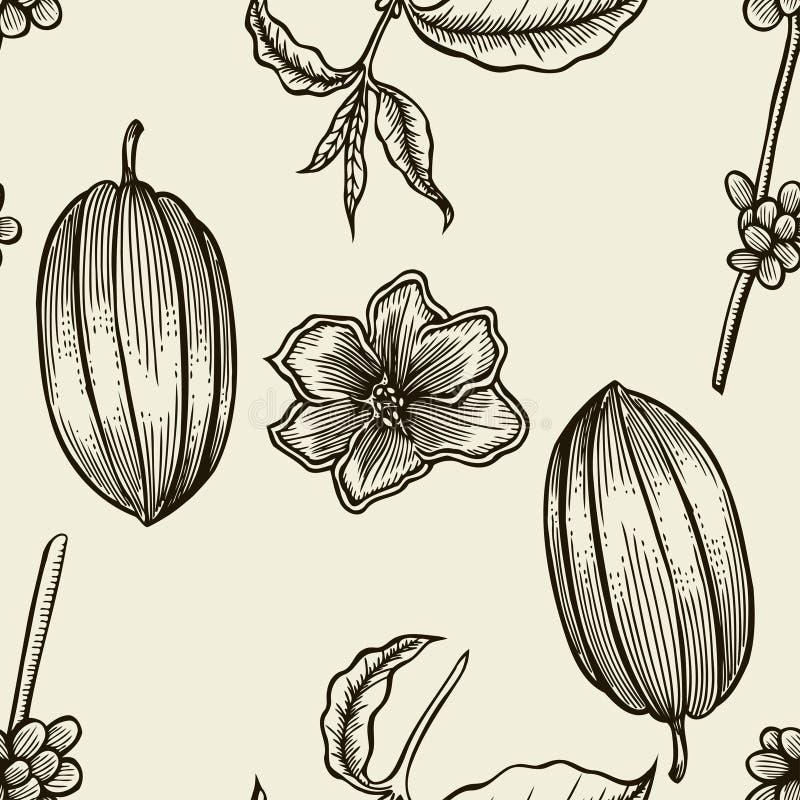 Kakaowa ręka rysujący bezszwowy wzór ilustracji