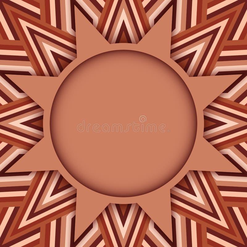 Kakaowego koloru round tekst, fotografia szablon na dekoracyjnym tle brown cienie lub ilustracja wektor