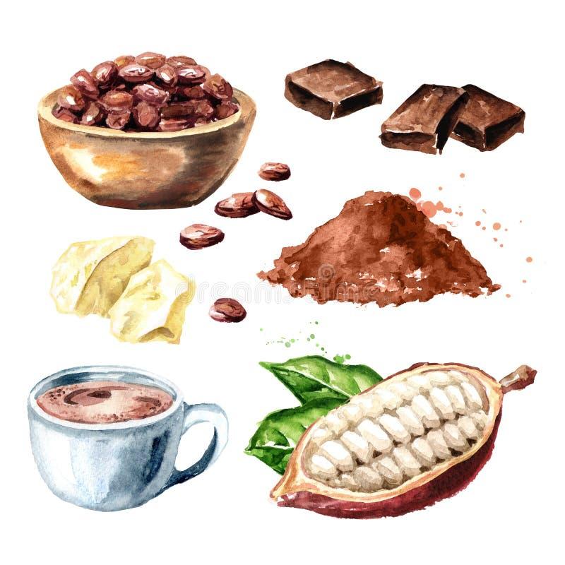 Kakaowi produkty Ustawiający Fasole, strąk, czekolada, masło, gorący kakaowy napój Superfood Akwareli ręka rysująca ilustracja, o ilustracji