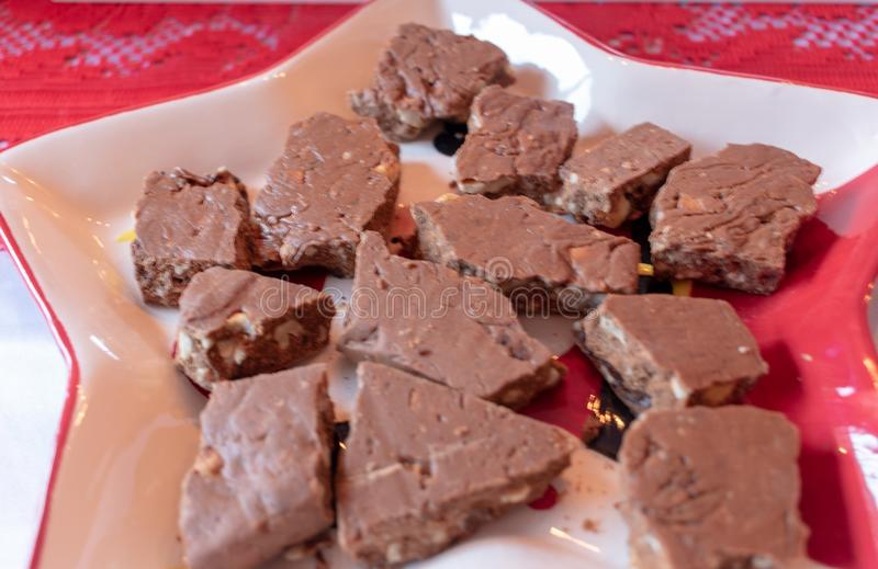 Kakaowy Toffee na talerzu obrazy royalty free