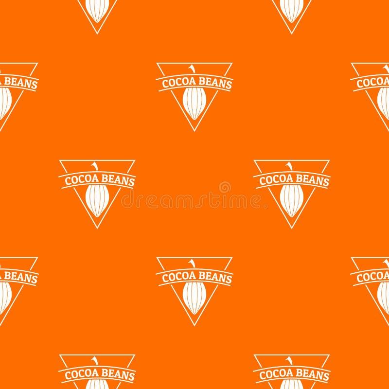 Kakaowych fasoli deseniowa wektorowa pomarańcze ilustracja wektor