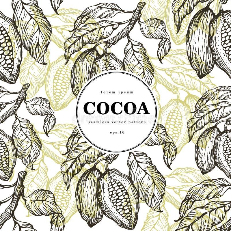 Kakaowych fasoli wektorowy bezszwowy wzór Grawerująca rocznika stylu ilustracja Czekoladowe kakaowe fasole sztandaru szablon royalty ilustracja