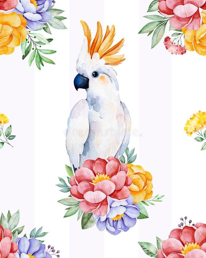 Kaketoe naadloze textuur met bloemen vector illustratie