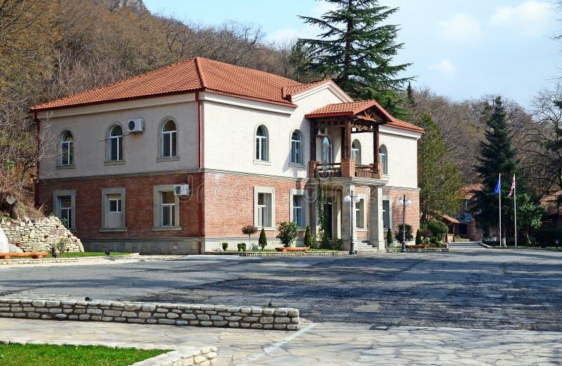 Kakheti, Georgia-March,3 2015: Hareba Winery - office building in Kakheti Region, Georgia. Kakheti, Georgia-March,3 2015: Wine factory in Kakheti region, Georgia stock image