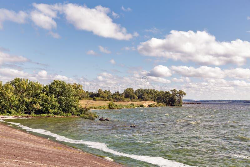 Kakhovka water reservoir shore, Ukraine stock photo