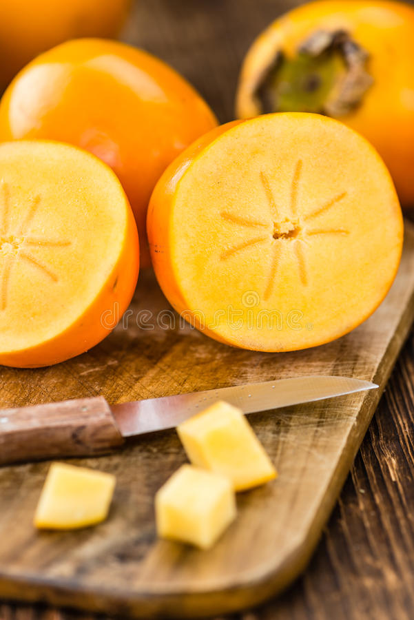 Kaki εκλεκτική εστίαση φρούτων στοκ εικόνα