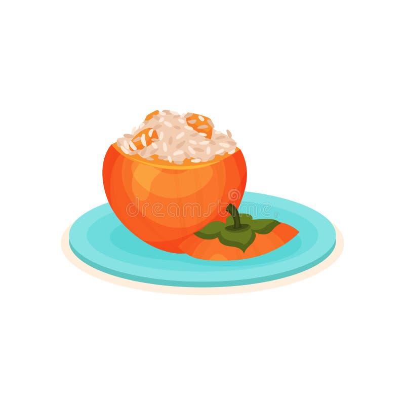 Kaki bourré appétissant avec du riz Plat délicieux de plat bleu Thème de nourriture Icône plate de vecteur illustration stock