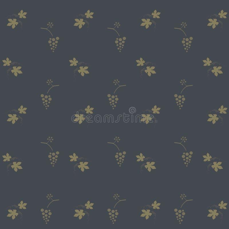 Kaki druivenbladeren en bossen van druiven op een donkerblauwe achtergrond, stock illustratie