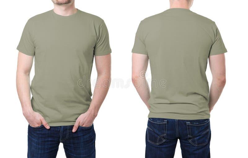 Kaki t-shirt op een jonge mensenmalplaatje royalty-vrije stock fotografie