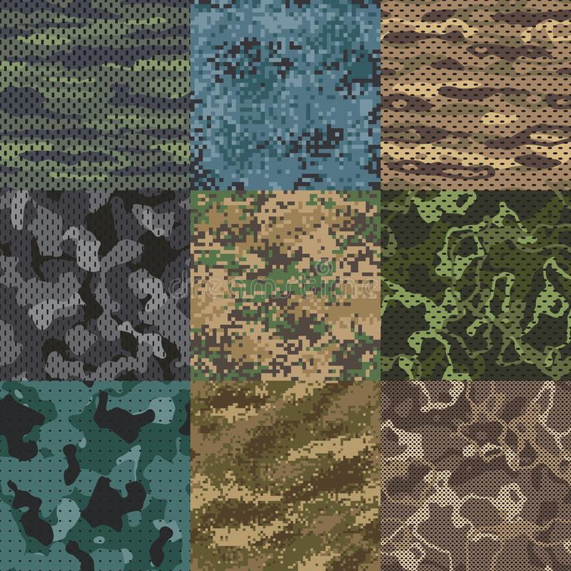 kaki- textur Sömlösa modeller för kamouflagetyg, militära klädertexturer och bakgrund för modell för armétryckvektor royaltyfri illustrationer