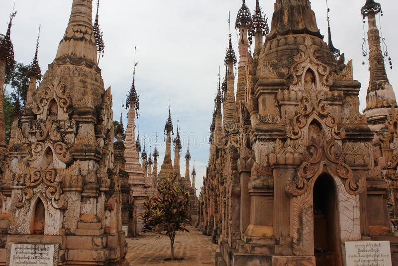 Kakku寺庙,缅甸 免版税图库摄影