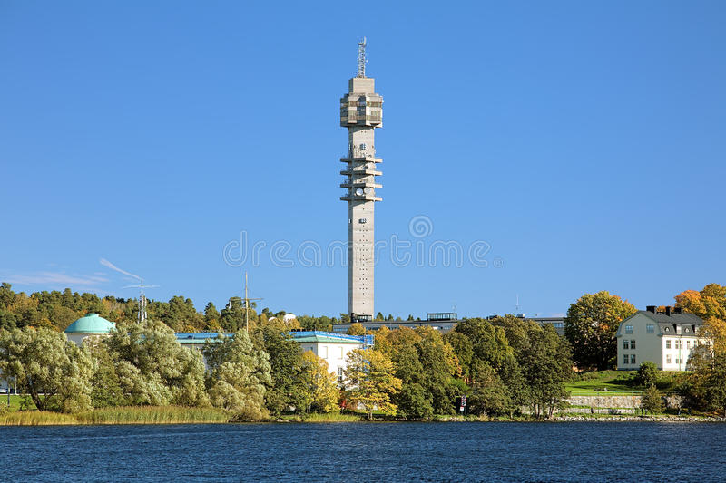 Kaknas TV tower (Kaknastornet) in Stockholm, Sweden. View of Kaknas TV tower (Kaknastornet) from Djurgarden island in Stockholm, Sweden stock photography