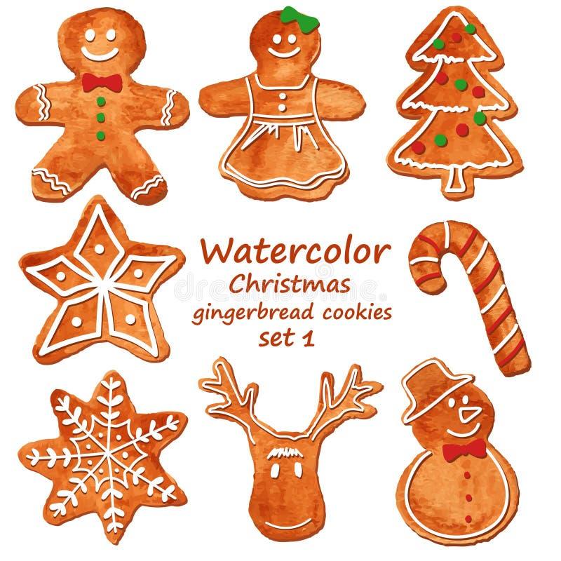 Kakor för vattenfärgjulpepparkaka royaltyfri illustrationer