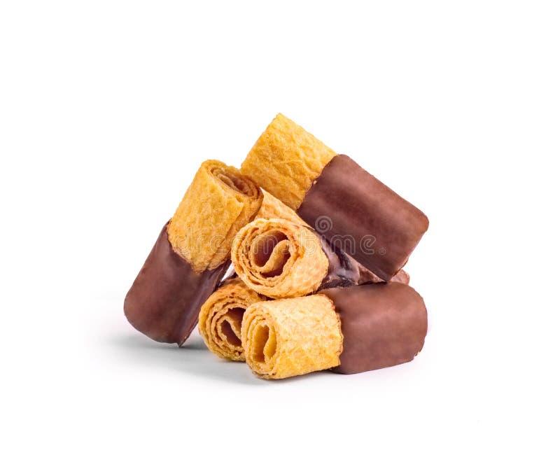 Kakor i chokladglasyr arkivfoto