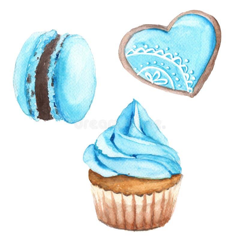 Kakor med blåttkräm På en vit bakgrund vektor illustrationer