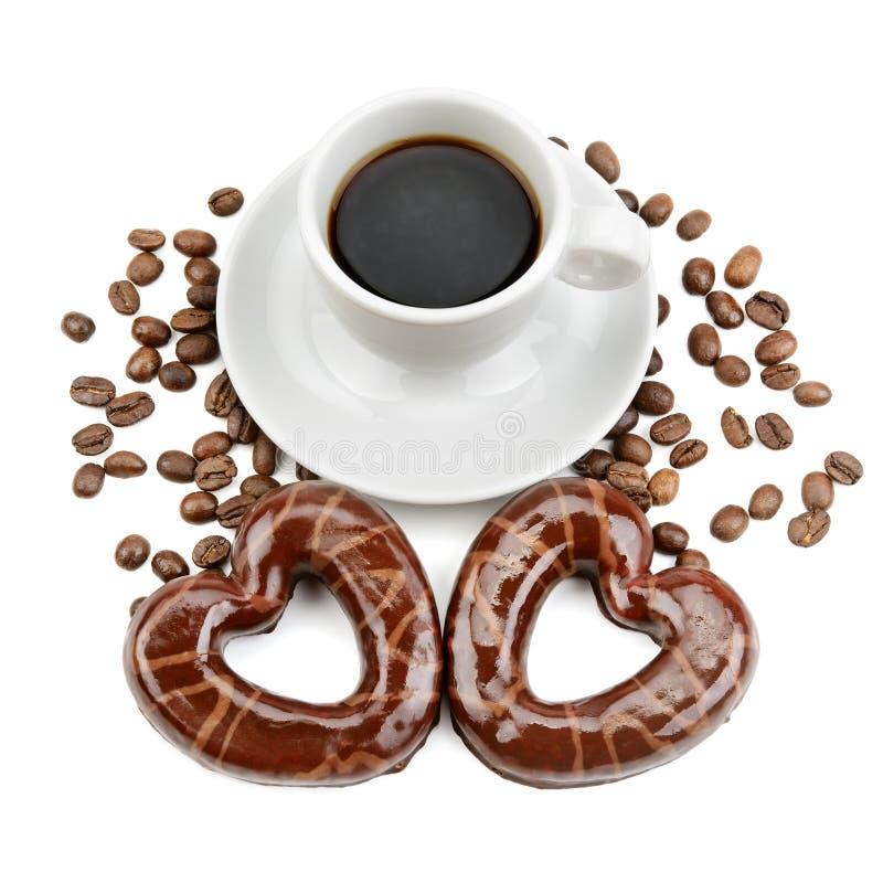kakor och en kopp kaffe arkivfoto