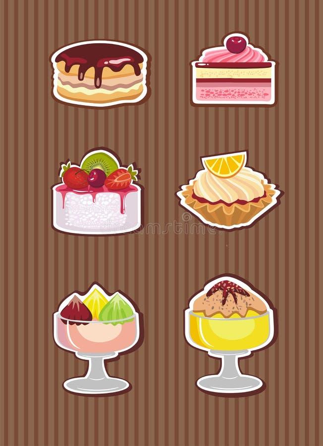 Kakor och glass royaltyfri illustrationer