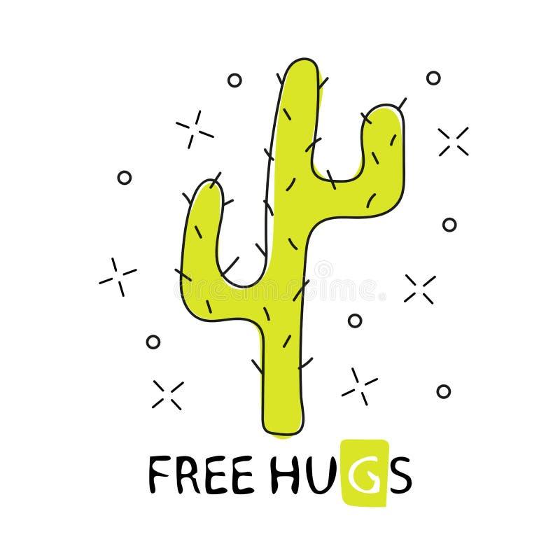 Kaktuns frigör kramar Hand dragen tecknad filmkaktus Vektor som isoleras på vitbakgrund stock illustrationer