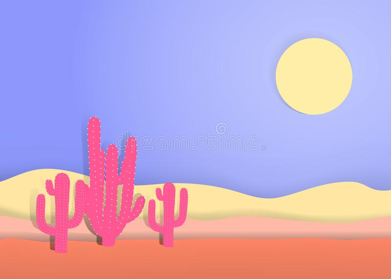 Kaktuns i öknen, pastellpapper klippte konststil, digital hantverkvektorillustration royaltyfri foto