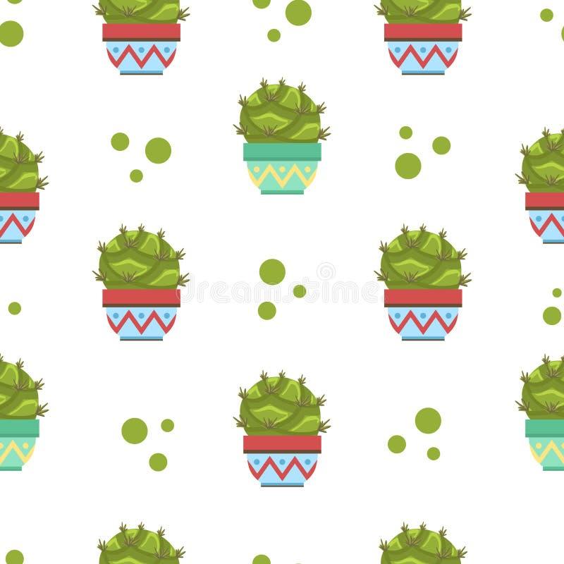 Kaktuns i den sömlösa modellen för blomkrukan, designbeståndsdel kan användas för tyg, tapeten som förpackar vektorillustrationen stock illustrationer