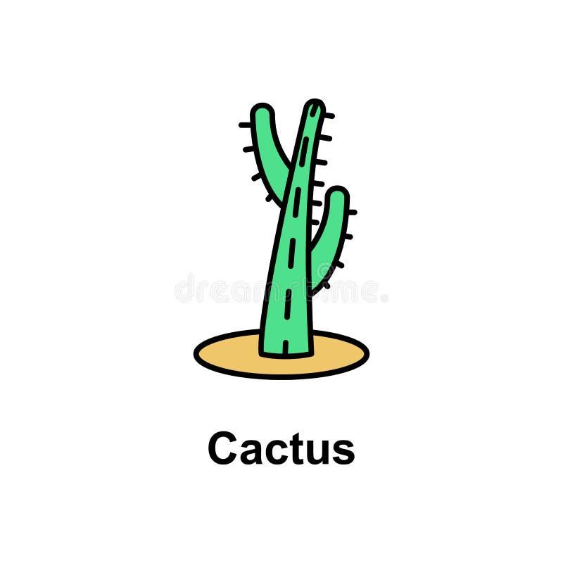 Kaktus blommasymbol Beståndsdel av den Cinco de Mayo färgsymbolen Högvärdig kvalitets- symbol för grafisk design Tecken och symbo stock illustrationer