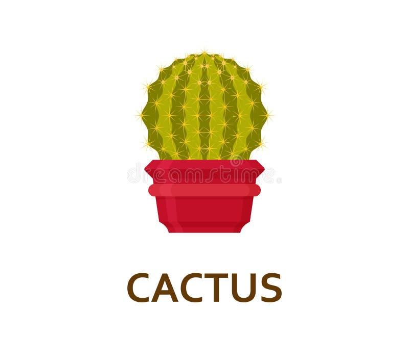 kaktus Dekorativ houseplant i kruka Inomhus träd för blomsterhandlare eller inre blomkruka också vektor för coreldrawillustration royaltyfri illustrationer