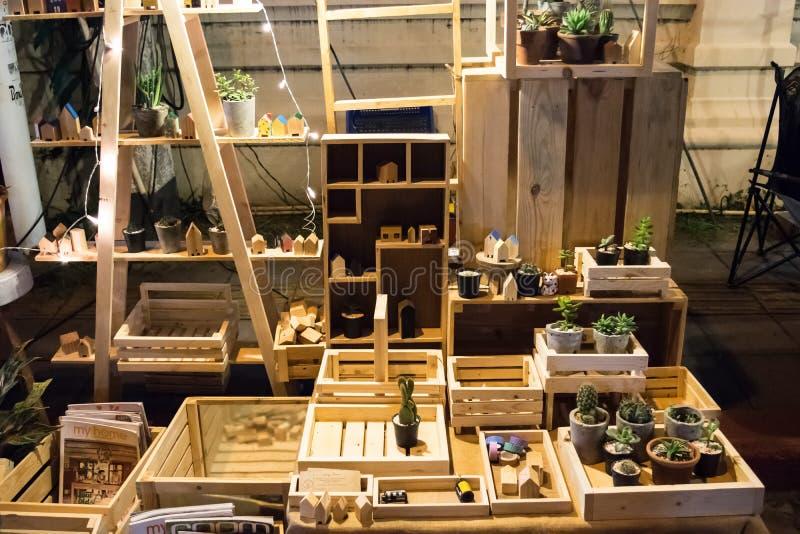 Kaktus dla sprzedaży na drewnianej półce w lokalnym noc rynku tle w Chang mai zdjęcia royalty free
