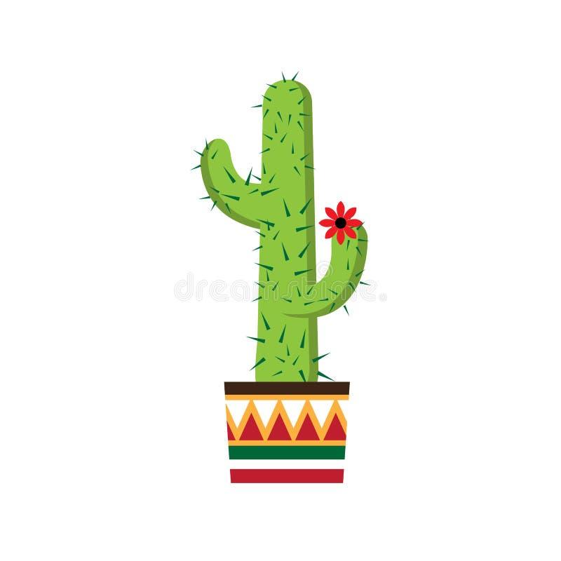 Kaktus in einem Topf mit einer Verzierung Topf mit Verzierung in der mexikanischen Art stock abbildung