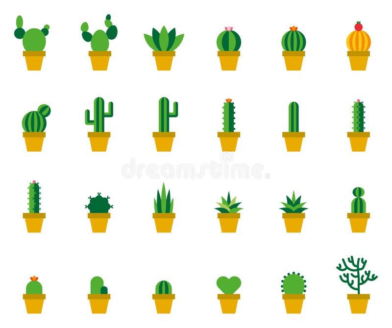 Kaktus färgade plana symboler royaltyfri illustrationer