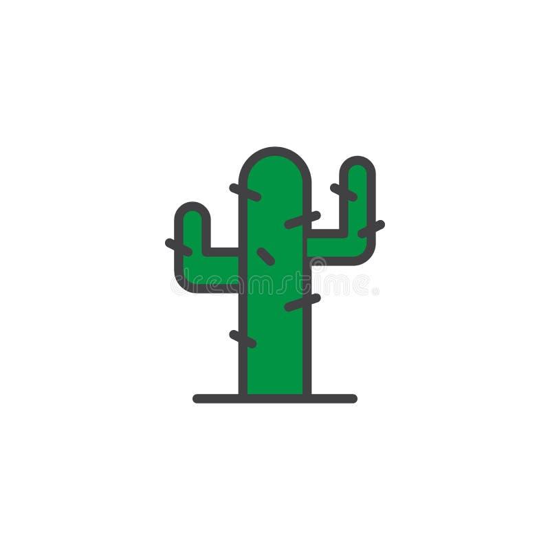 Kaktus, gefüllte Entwurfsikone der Wüstenpflanze lizenzfreie abbildung