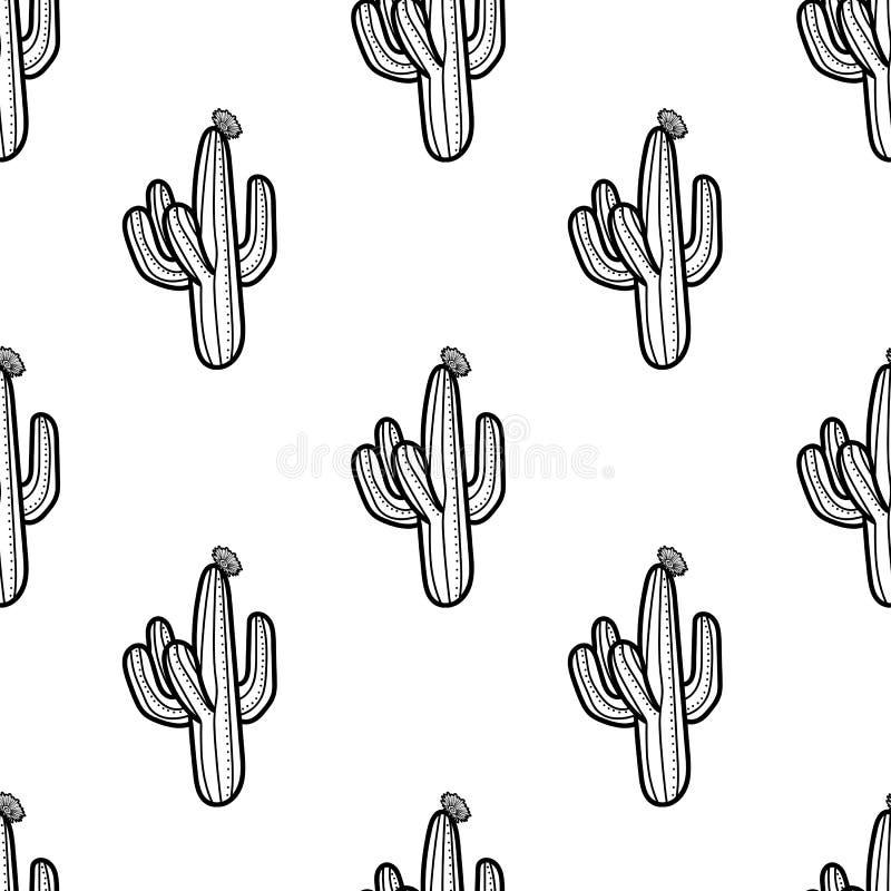 Kaktus i översiktsstil på vit bakgrund Sömlös modell ve stock illustrationer