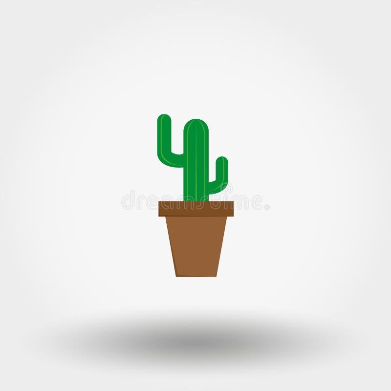 Kaktus i en blomkruka Inomhus växt royaltyfri illustrationer