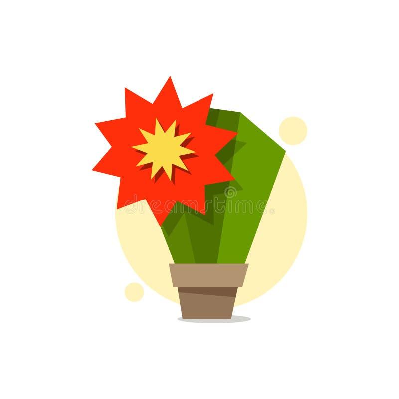 Kaktus i en kruka med en enorm röd blommalogo för design stock illustrationer