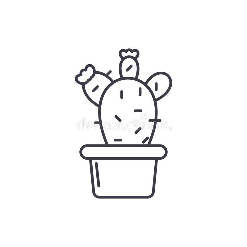 Kaktus i en krukalinje symbolsbegrepp Kaktus i en linjär illustration för krukavektor, symbol, tecken stock illustrationer