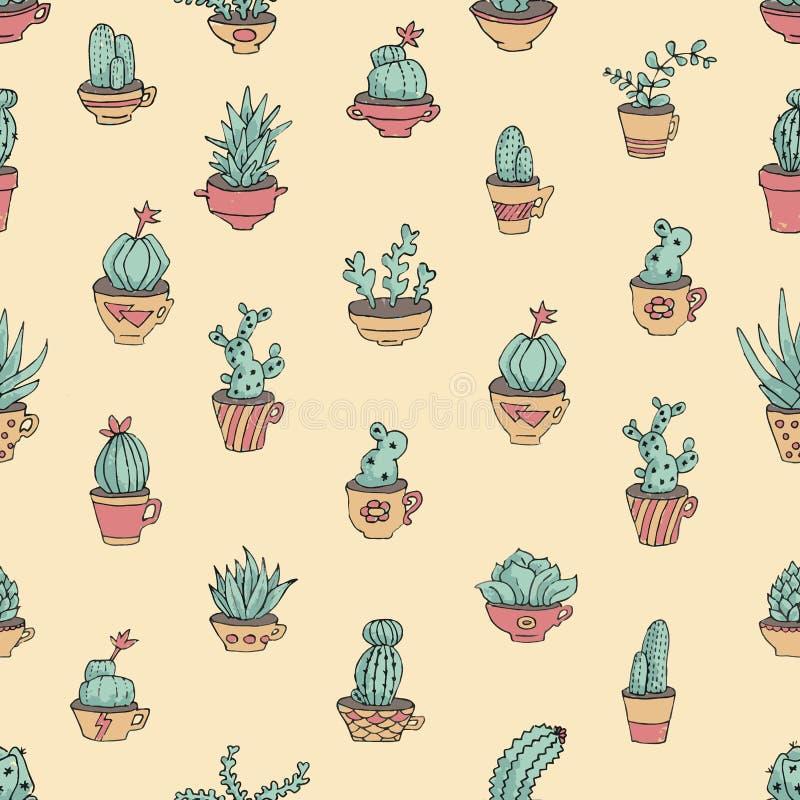 Kaktus i mexicansk stil stock illustrationer