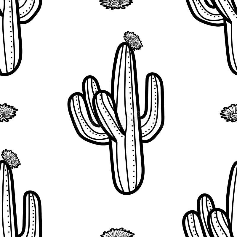 Kaktus i okwitnięcie w czarnym konturze na białym tle Seamles royalty ilustracja