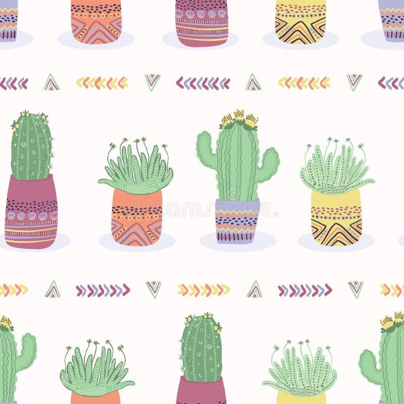 Kaktus i sömlös modell för växtkruka Inomhus suckulent houseplant stock illustrationer