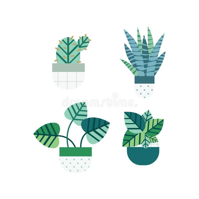 Kaktus i tłustoszowaty ustawiający z ładnymi garnkami w mieszkanie stylu Editable elementy, ikony dla domu ogródu, krajobraz royalty ilustracja