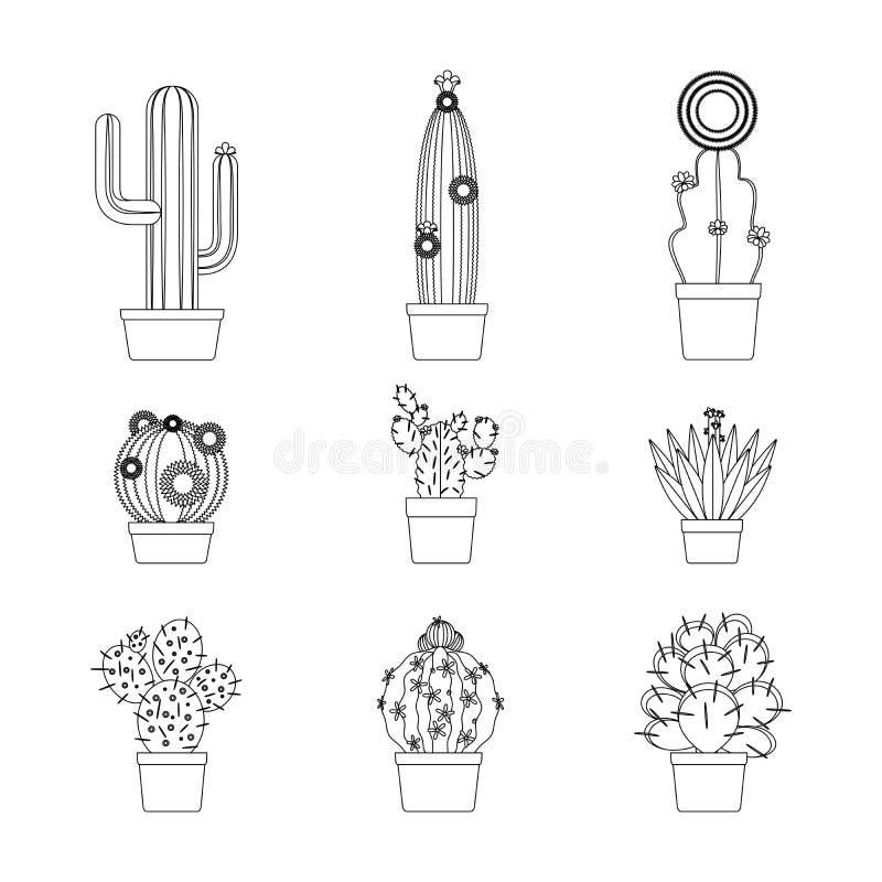 Kaktus ikony cienki kreskowy set royalty ilustracja