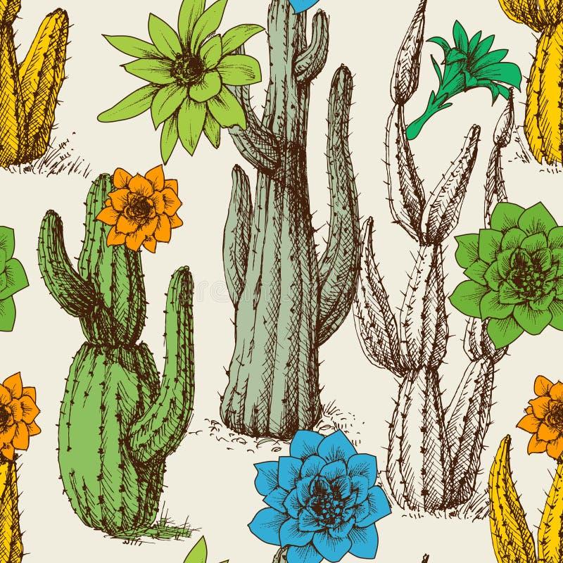 Kaktus im nahtlosen Muster der Blüte lizenzfreie abbildung