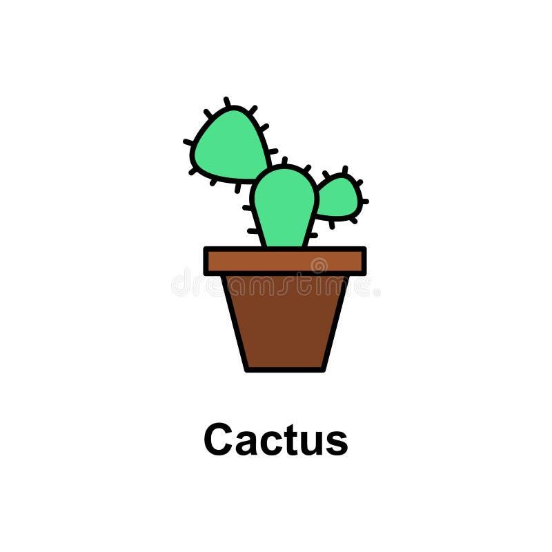 Kaktus, kwiat ikona Element Cinco de Mayo koloru ikona Premii ilości graficznego projekta ikona Znaki i symbol kolekci ikona royalty ilustracja