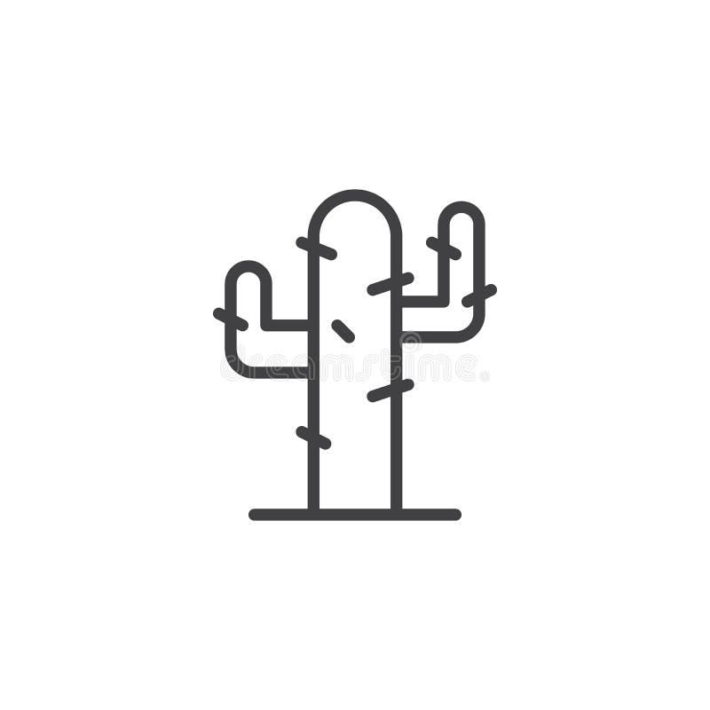 Kaktus linje symbol för ökenväxt royaltyfri illustrationer