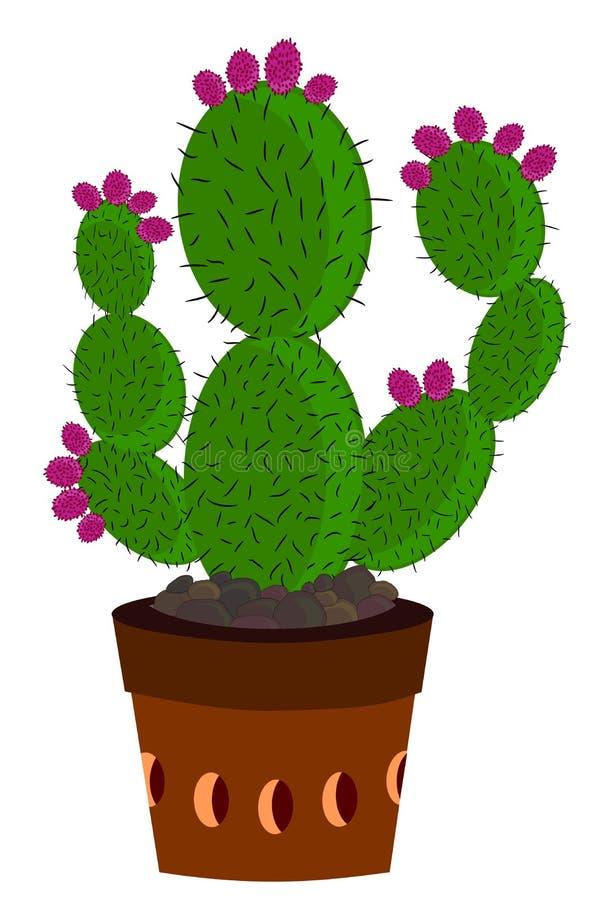 Kaktus med fruktbrunt royaltyfri illustrationer