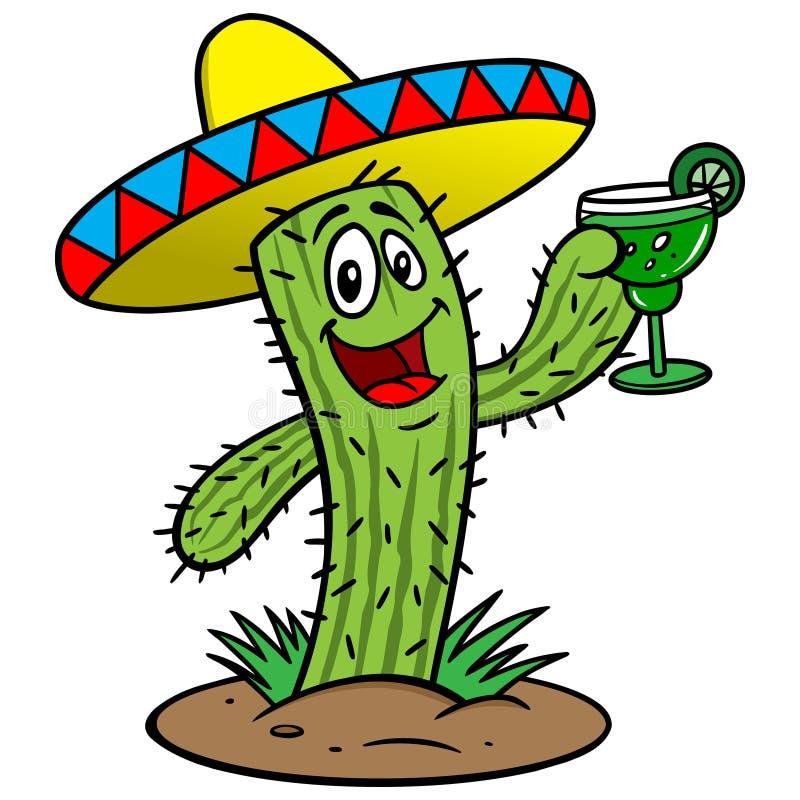 Kaktus med margaritan royaltyfri illustrationer